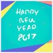 Vector, Happy New year 2017 pencil brush with material design fr