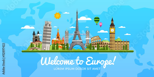 Obraz Welcome to Europe, travel on the world concept, traveling flat vector illustration. - fototapety do salonu