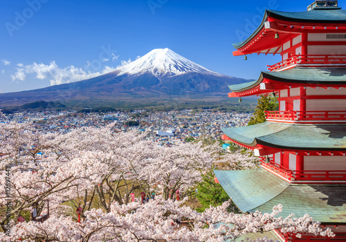 Obrazy Tokio  gora-fuji-z-pagoda-chureito-fujiyoshida-japonia