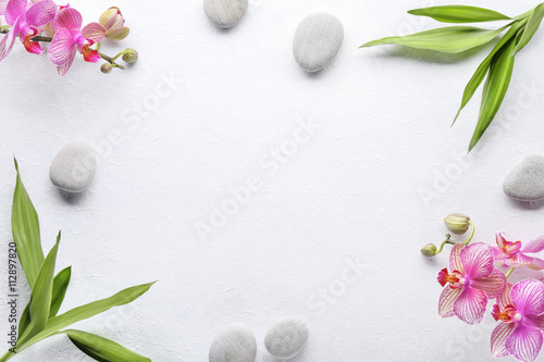 Photo  Spa stones with bamboo