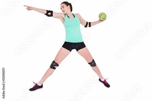 Plakat Lekkoatletka z łokieć rzucanie piłki ręcznej