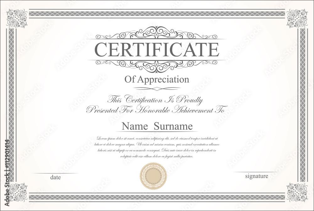 Fototapety, obrazy: Retro vintage certificate or diploma template
