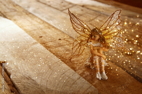 image of magical little fairy in the forest . vintage filtered.