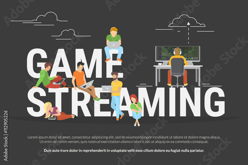 Fotografering  Game streaming concept of young various people using laptop, tablet pc and smartphone to watch live game streaming while game player playing e-sport