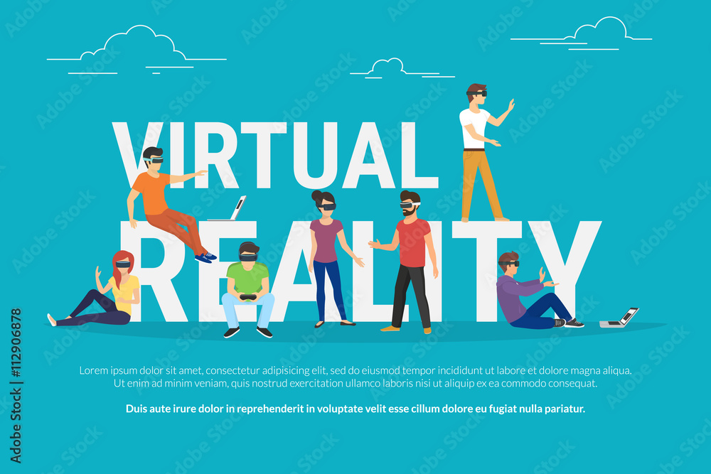 Fototapeta Virtual reality concept illustration of young various people wearing virtual reality helmet for playing game and virtual simulation. Flat design of guys and women standing near big letters