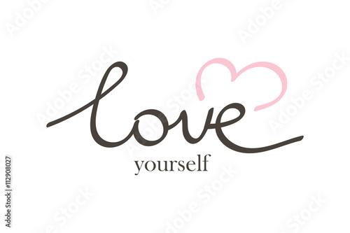 Fotografía  Vector hand drawn lettering phrase love yourself