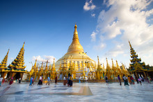 Nidentified People Walking Around In Shwedagon Pagoda