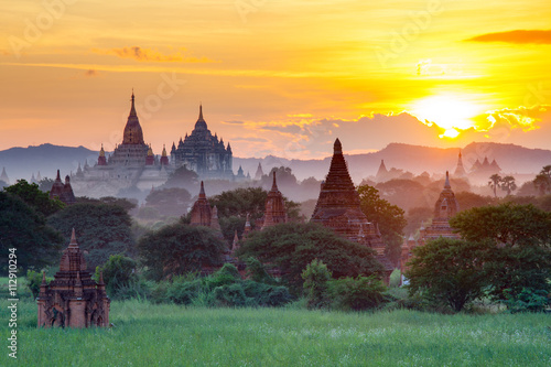 Beautiful sunset scene of Ancient Pagoda in Bagan, Myanmar Wallpaper Mural