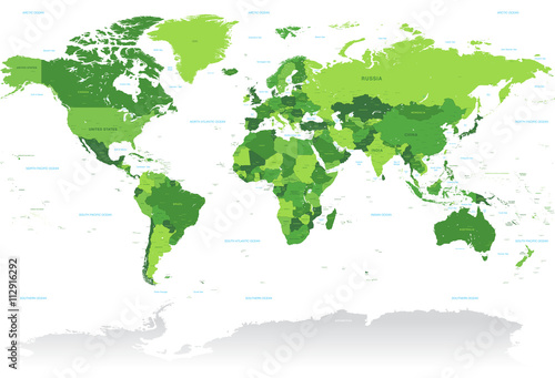 Vctor Green World Map Fototapeta