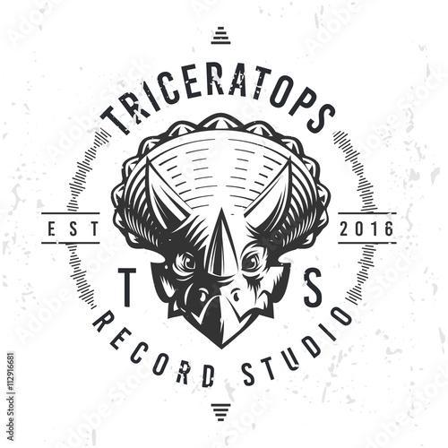 Obraz na plátně  Dinosaur record studio logo template