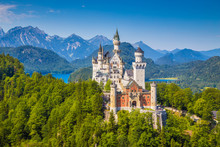 Famous Neuschwanstein Castle With Scenic Mountain Landscape Near Füssen, Bavaria, Germany