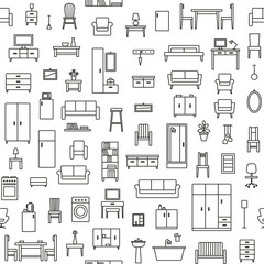 Vector seamless pattern background with home furniture outline icons 3
