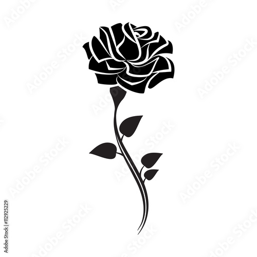 black silhouette of rose with leaves tattoo style rose vector rh stock adobe com rose vectorielle rose vectorielle