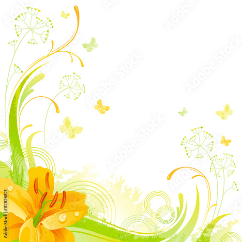 Photo sur Aluminium Papillons dans Grunge Floral summer background with yellow lily flower, leafs, grass and grunge elements, copy space for your text