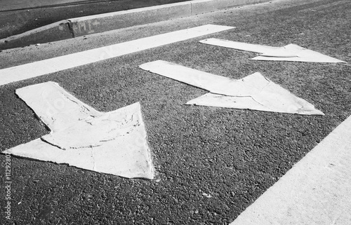 Pedestrian crossing road marking with arrows