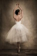 Rear View Of Female Ballet Dancer
