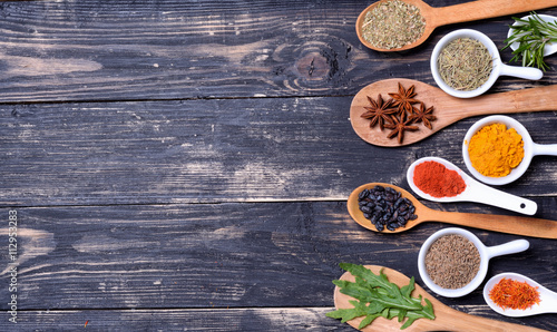 Printed kitchen splashbacks Spices Powder spices & herbs on spoons