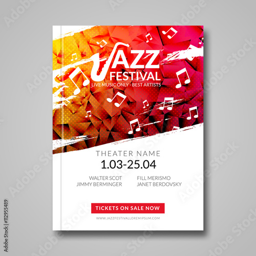 Obraz Vector musical flyer Jazz festival. Music background festival brochure flyer template  - fototapety do salonu