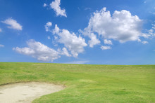 Golf Course - Green Golf Field And Sand Pit With Sky Blue Cloud