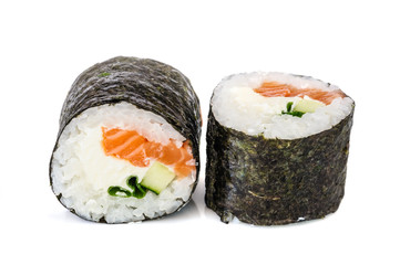 Fototapeta Sushi Maki sushi, two rolls isolated on white
