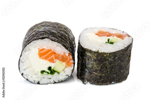 Maki sushi, two rolls isolated on white - 112963012