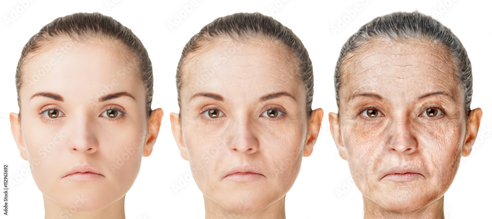 Fototapeta Aging process, rejuvenation anti-aging skin procedures old and young faces isolated on white background