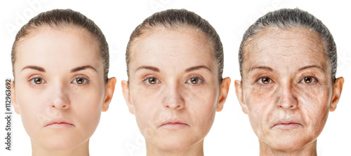 Fotografía  Aging process, rejuvenation anti-aging skin procedures old and young faces isola