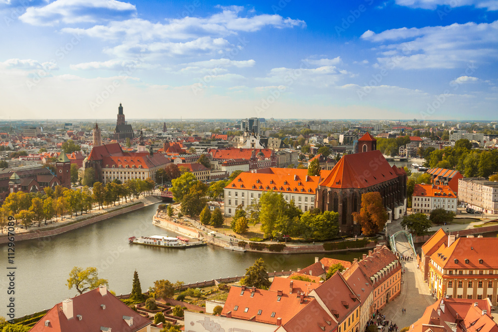 Fototapety, obrazy: Old town cityscape panorama, Wroclaw, Poland