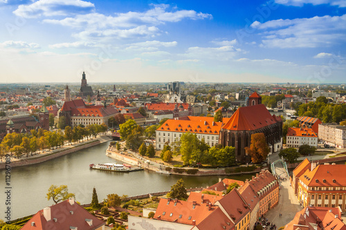 fototapeta na drzwi i meble Old town cityscape panorama, Wroclaw, Poland