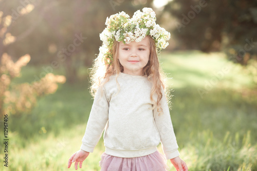 Smiling Kid Girl 5 6 Year Old With Flower Hairstyle Outdoors