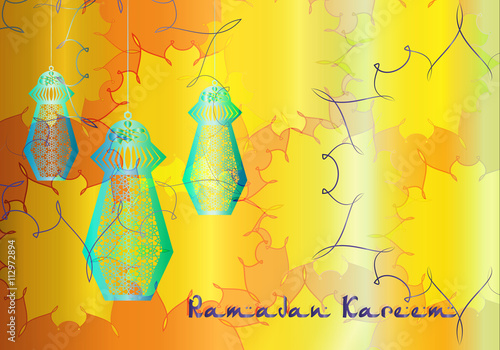 Ramadan Kareem Colorful Eid Lanterns Hanging From The Ropes With