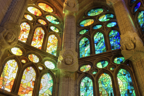 Fotografie, Obraz  Interior view of colorful stained glass windows in Sagrada Familia cathedral, Ba