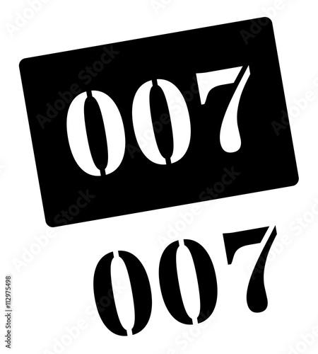 Photographie  Zero zero seven black rubber stamp on white