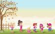 Green grass landscape with cute cartoon girls