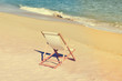Beautiful beach landscape with chair for relaxation. Travel background