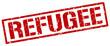 refugee red grunge square vintage rubber stamp