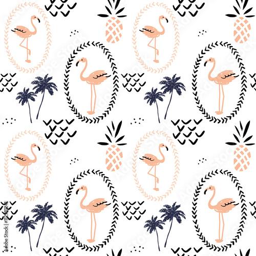 rumieniec-rozowy-flaming-w-ramie-ananasy-i-drzewka-palmowe-na-bialym-tle-wektorowy-bezszwowy-wzor-z-tropikalnym-ptakiem-i-owoc-recznie
