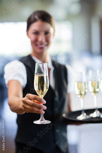 Obraz na plátne Portrait of smiling waitress offering a glass of champagne
