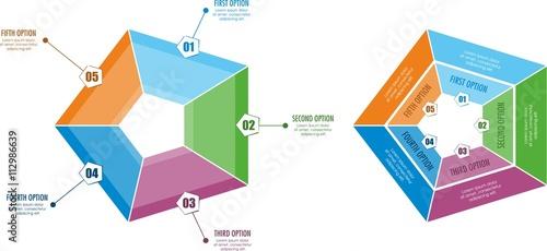 Fotografie, Obraz  Sześciokątna infografika biznesowa