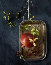 Pomegranate Fruit On Silver Tray