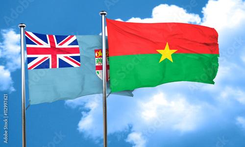 Foto op Aluminium Scandinavië Fiji flag with Burkina Faso flag, 3D rendering
