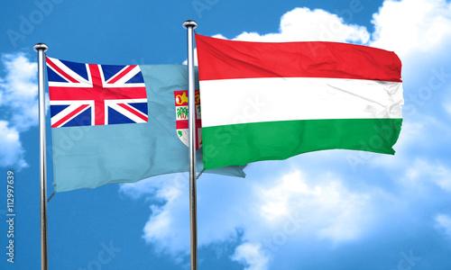 Foto op Aluminium Scandinavië Fiji flag with Hungary flag, 3D rendering