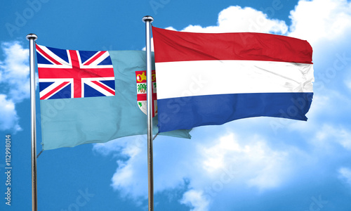 Foto op Aluminium Scandinavië Fiji flag with Netherlands flag, 3D rendering