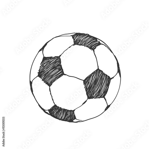 Football icon sketch. Soccer ball hand-drawn in doodles style - Buy ... 32f6dd00a18a6