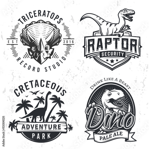 Fototapeta Set of Dino Logos