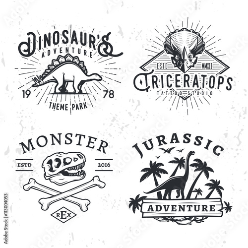 Fototapeta Set of Dino Logos