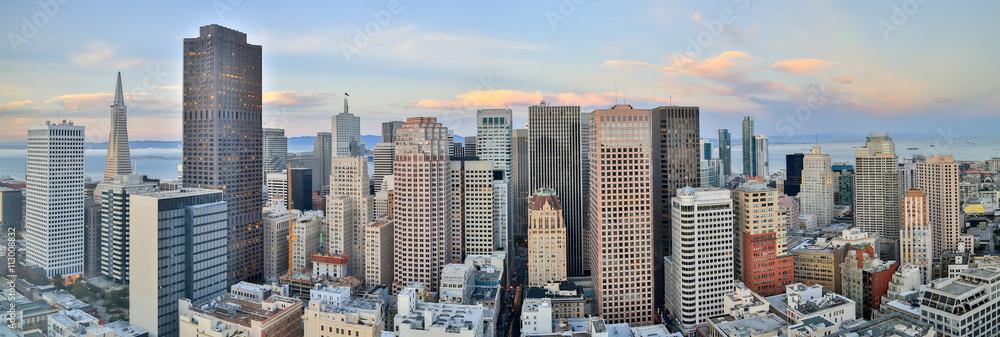Fototapeta San Francisco Downtown Panoramic View at Sunset. Aerial view of San Francisco Financial District.