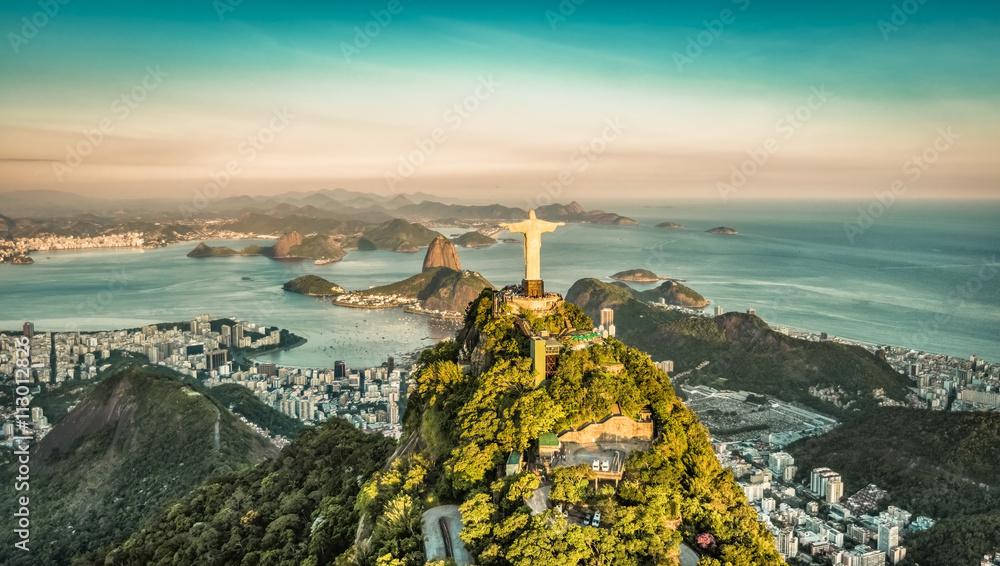 Fototapety, obrazy: Aerial view of Botafogo Bay from high angle, Rio De Janeiro