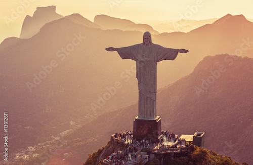 Photo  Aerial view of Corcovado Hill from high angle, Rio De Janeiro
