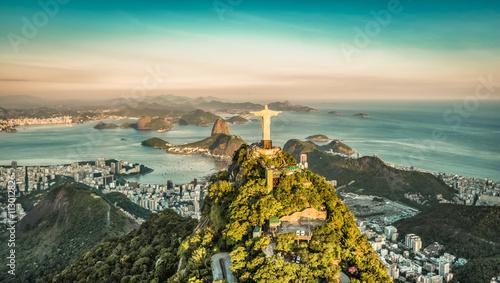 Tuinposter Rio de Janeiro Aerial view of Botafogo Bay from high angle, Rio De Janeiro